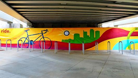 Giant, colorful bike mural