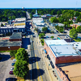 An aerial view of historic downtown Apex