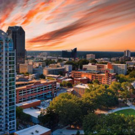 Beautiful skyline of downtown Raleigh with Moore Square park in the foreground