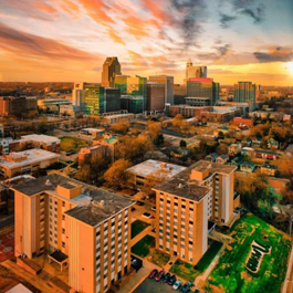 Aerial view of Shaw University with the downtown Raleigh skyline in the background