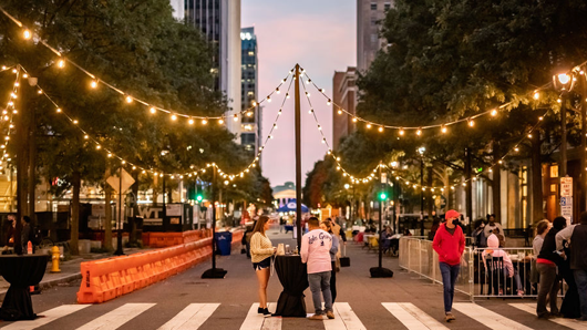 A festive-looking Fayetteville St. in downtown Raleigh