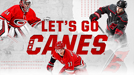 Let's Go Canes graphic with three Canes players