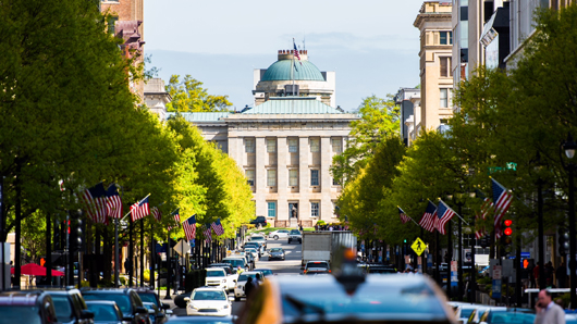 The North Carolina State Capitol, looking down Fayetteville St.