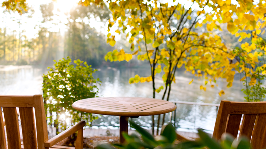 Empty chairs overlooking a serene lake and fall foliage scene