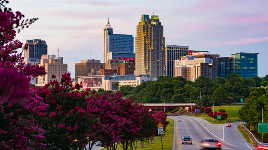 Downtown Raleigh skyline on a clear, summer evening