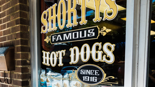 Window sign at Shorty's Famous Hot Dogs