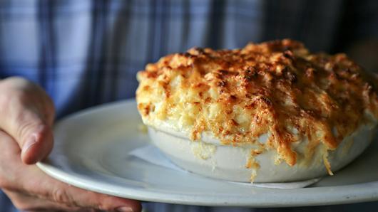 A delicious-looking bowl of chef Ashley Christensen's famous macaroni au gratin