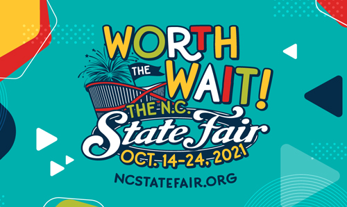 Festive N.C. State Fair logo that says Worth the Wait and includes the event dates and website URL, ncstatefair.org