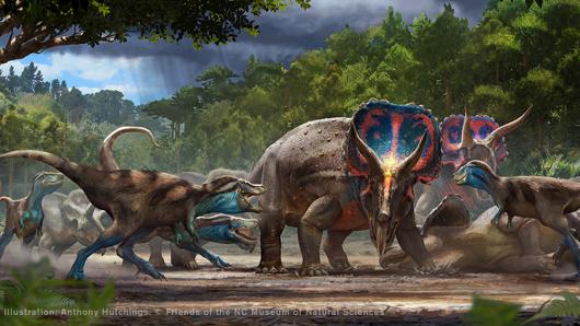 An illustration of dinosaurs battling