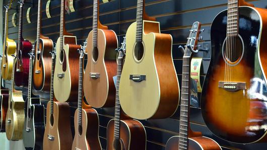 Guitars on a wall
