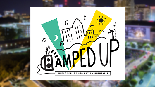 Amped Up Music Series logo with a cartoonish illustration of the downtown Raleigh skyline in the background