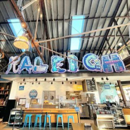 Raleigh artwork in Transfer Co. Food Hall