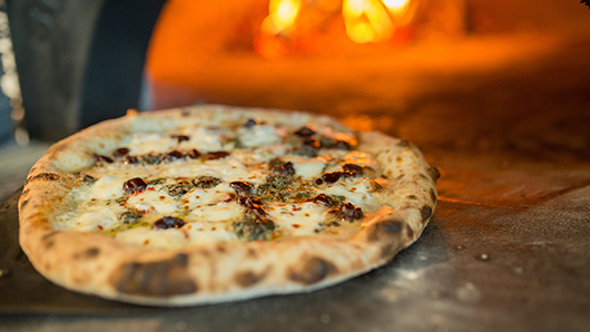 A mushroom and cheese pizza sitting in front of a wood-fired grill
