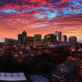 Pink evening sky over the downtown Raleigh skyline