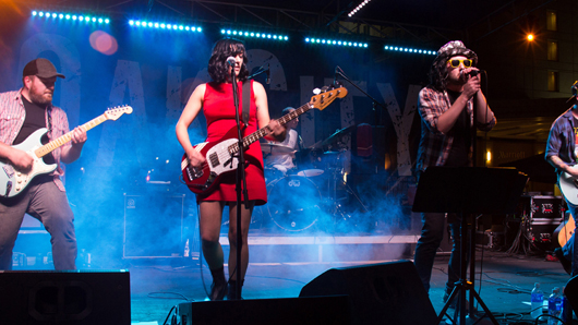 Photo of a rock band playing live on a stage