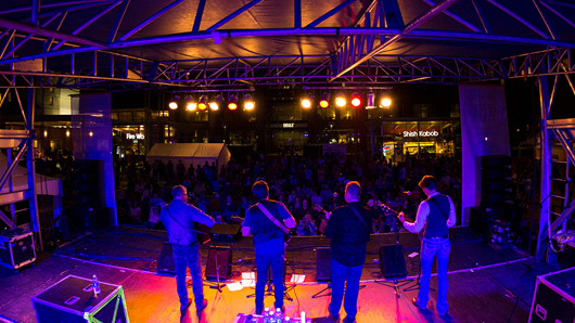 View of a large crowd from behind a four-piece bluegrass band