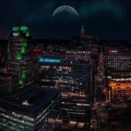 Nightime Raleigh skyline