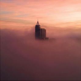 Raleigh skyline with fog