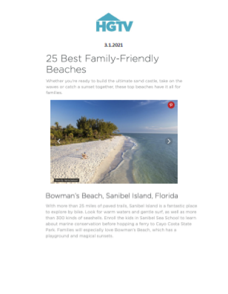HGTV 25 Best Family-Friendly Beaches article
