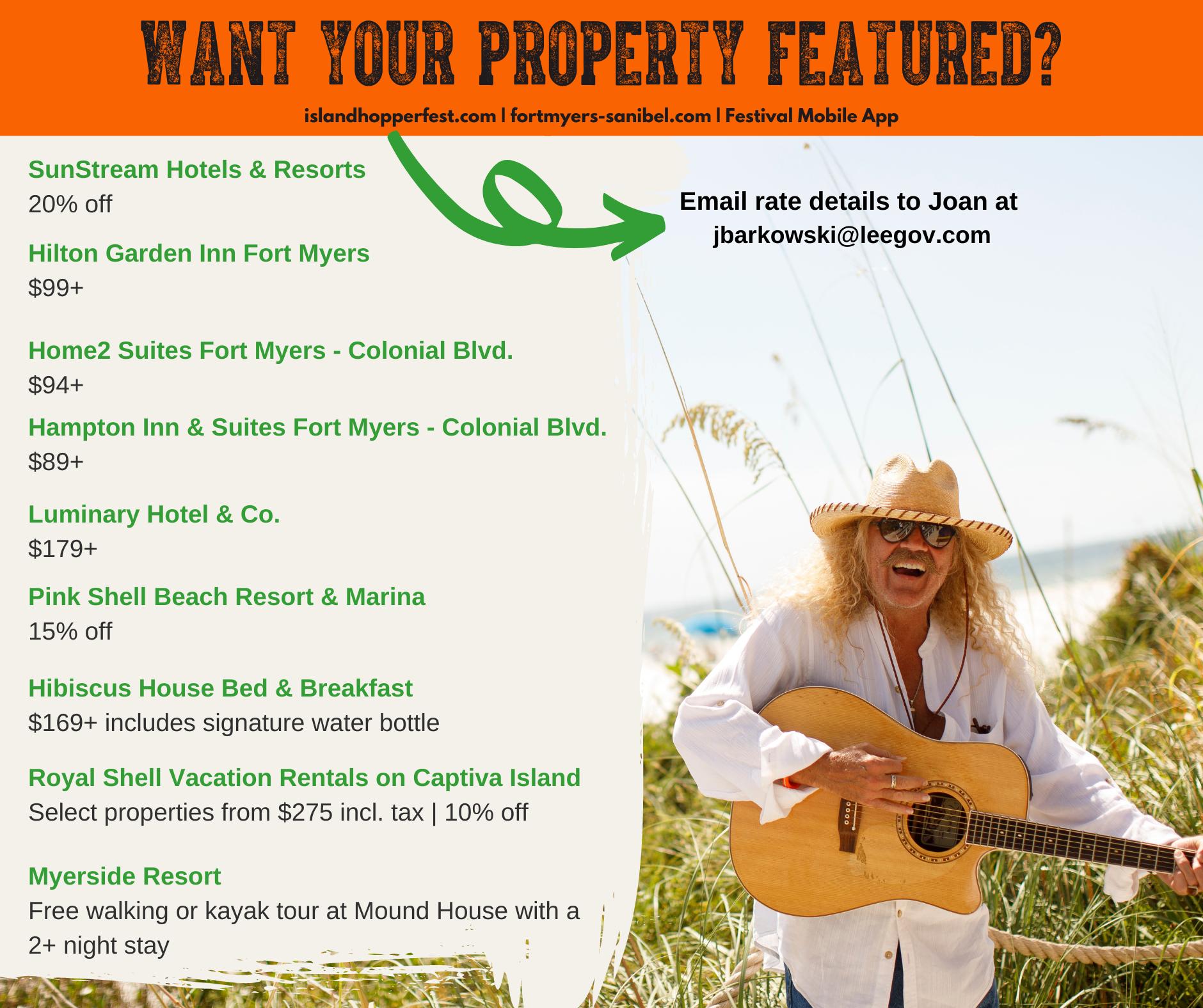 Island Hopper Songwriter Fest hotel deals