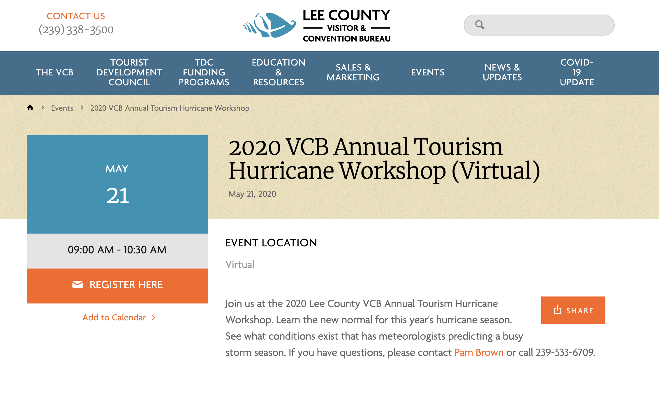 VCB Annual Tourism Hurricane Workshop - May 21