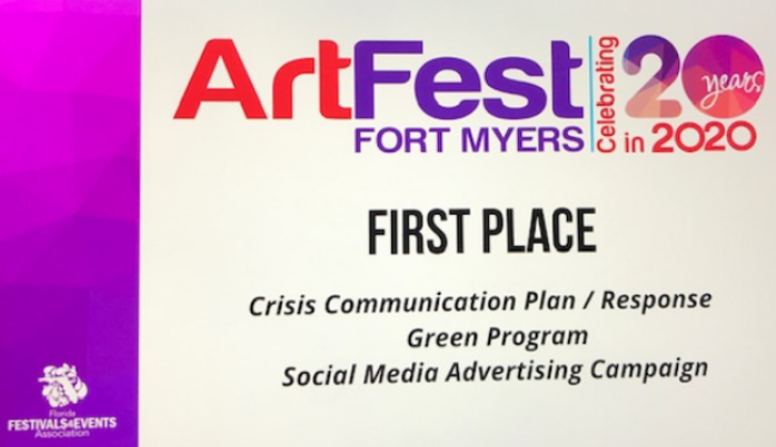 ArtFest Fort Myers wins at  Florida Festivals and Events Association Virtual Award Ceremony