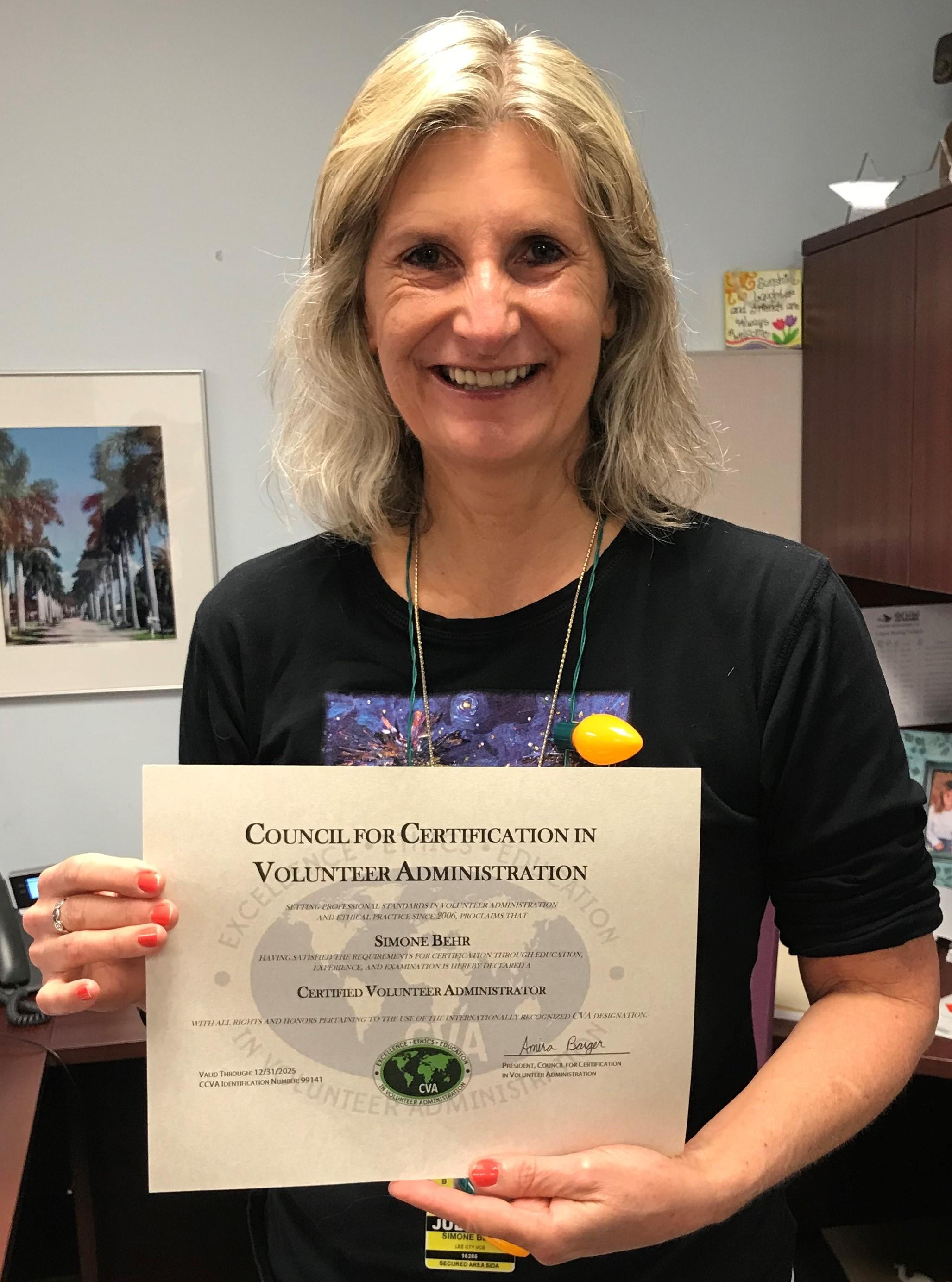 Simone Behr passes CVA credentialing