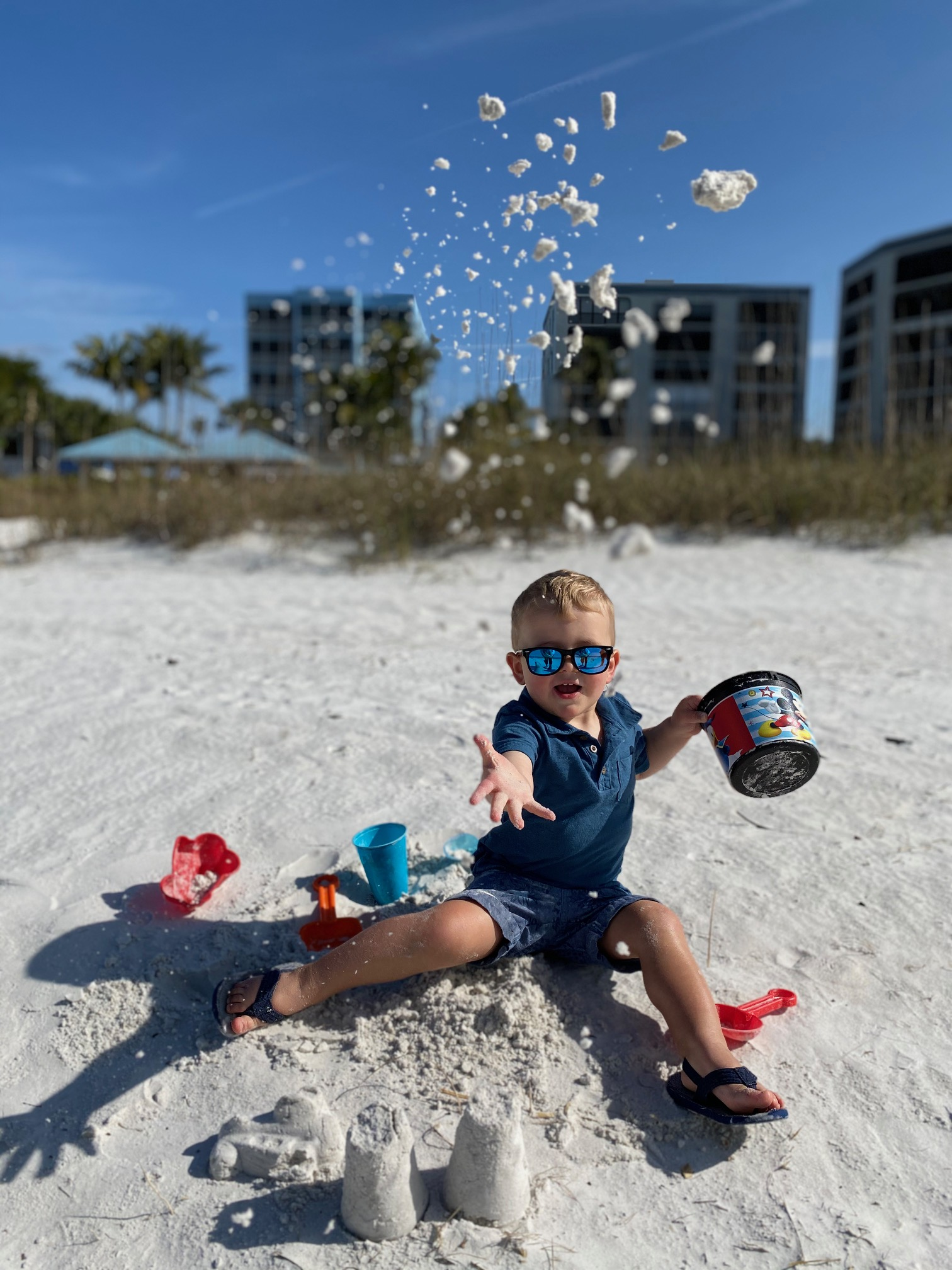 Image of Erica's nephew enjoying a beach day on Fort Myers Beach in February